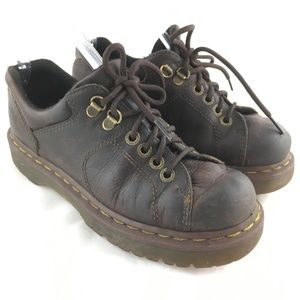 Chunky oxford lace up shoe brown leather round toe
